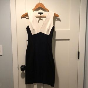 Colorblock Black and Navy Work Dress